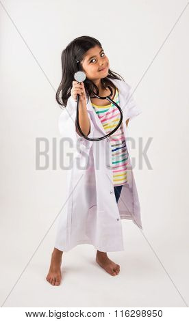 asian girl wearing doctor's dress, indian small doctor girl