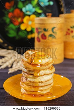 Fritters of sour milk with jam