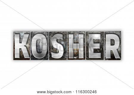 Kosher Concept Isolated Metal Letterpress Type