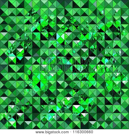 Green Polygons Small Pixels Grunge Texture Seamless Pattern