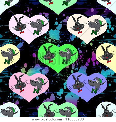 Heart Of The Hare And The Wolf On A Black Background Seamless Pattern Vector Illustration