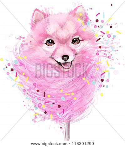 Cute dog T-shirt graphics. Watercolor dog and candy floss illustration. unusual illustration waterco