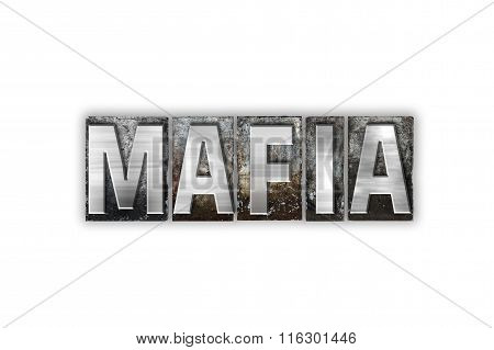 Mafia Concept Isolated Metal Letterpress Type