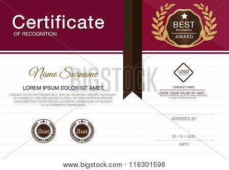Certificate of achievement frame design template