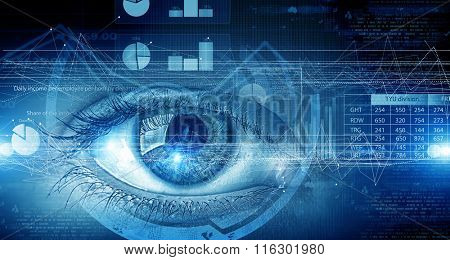 Eye scanning. Concept image