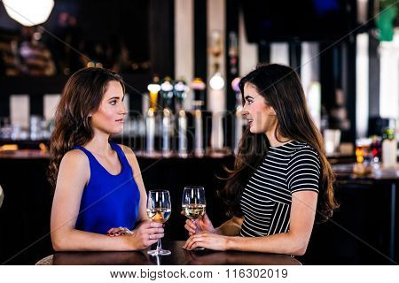 Brunettes talking and holding glasses of white wine in a bar