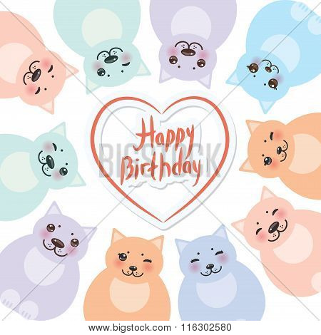 happy birthday card template, funny green blue pink orange fat cats, pastel colors on white backgrou