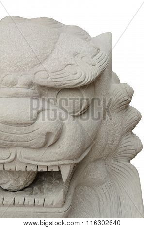 Lion Statues In Chinese Style On White Background.