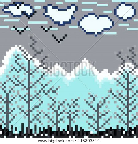 Nature Of The Pixel Pattern Vector Illustration
