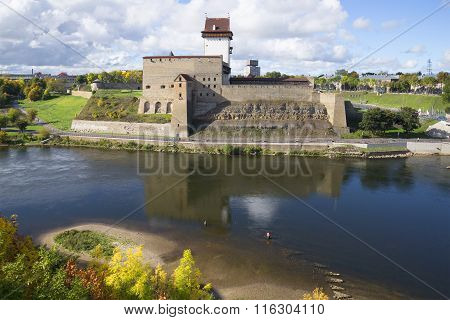 View of the Herman castle september afternoon. Narva, Estonia