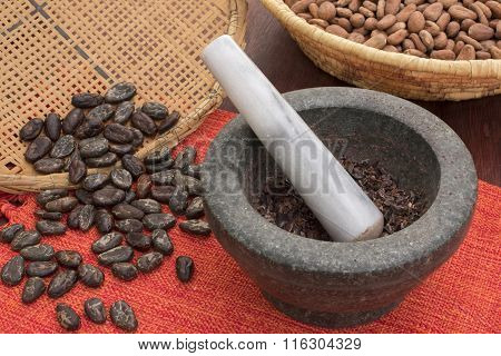 Stone Mortar And Pestle With Cacao