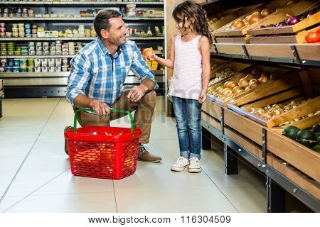Father and daughter doing shopping in grocery store