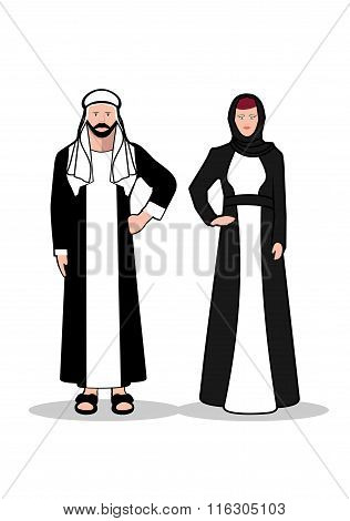 Arab Man And Woman.in Traditional Arab Dress On A White Background.