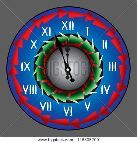 Bright Wall Clock, New Year, Holiday