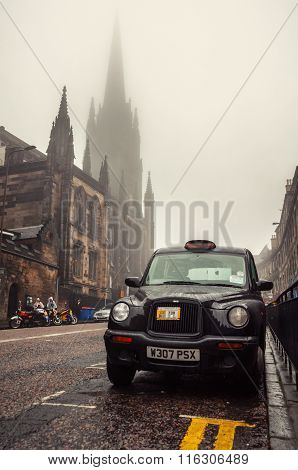 Black cab at the strret in Edinburgh, UK