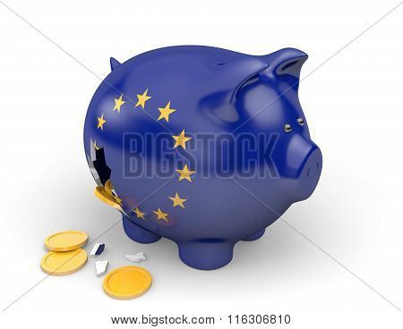 European Union economy and finance concept for poverty and debt