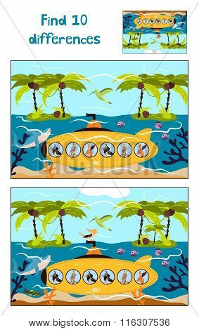Cartoon  Of Education To Find 10 Differences In Children's Pictures Underwater Boat Swims With T