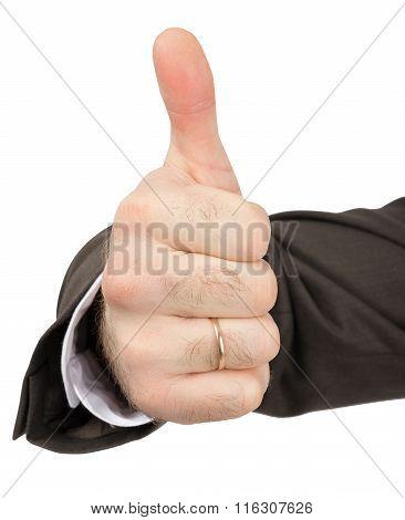 Businessmans hand showing ok