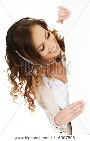 Call center woman with empty banner.