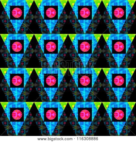 Colored Circles And Polygons On A Black Background Seamless Abstract Background