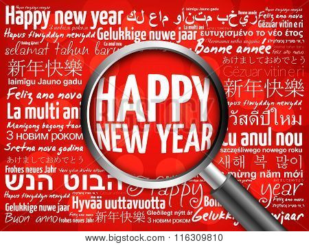 Happy New Year in different languages, celebration word cloud greeting card with magnifying glass on