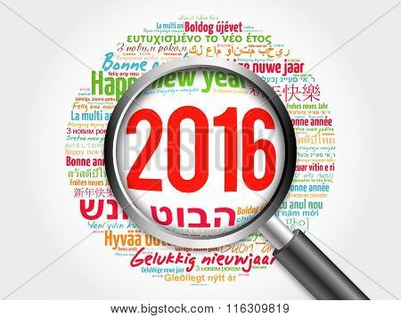 2016 Happy New Year in different languages, celebration word cloud greeting card with magnifying gla