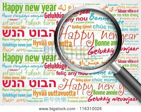 Happy New Year in different languages, celebration word cloud greeting card with magnifying glass