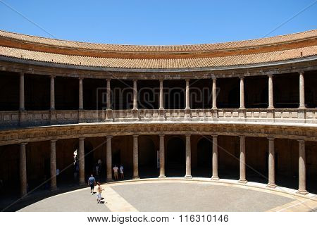 Charles V Palace courtyard, Alhambra Palace.