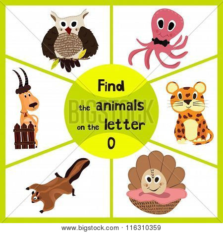 Funny Learning Maze Game, Find All 3 Of Cute Wild Animals To The Letter O, Sea Dweller Octopus, Wood