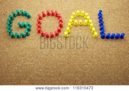 Colorful push pins with
