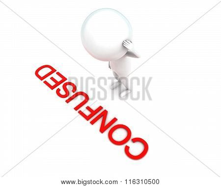 3D Man Scraching Head And Looking At Confused Text On Ground Concept