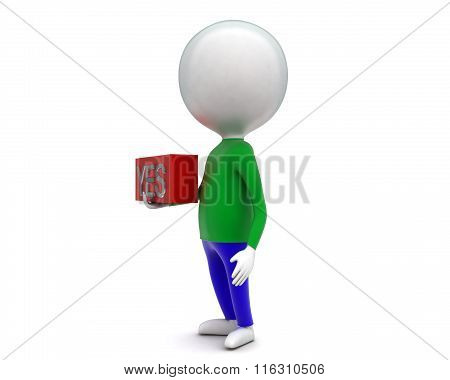 3D Man Holding Yes Text In A Box In Hands Concept
