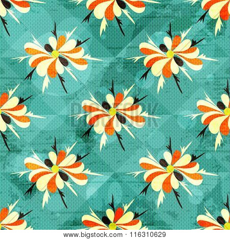 Beautiful Colored Abstract Flowers Seamless Pattern