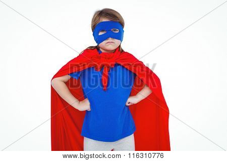 Masked girl pretending to be superhero on white screen