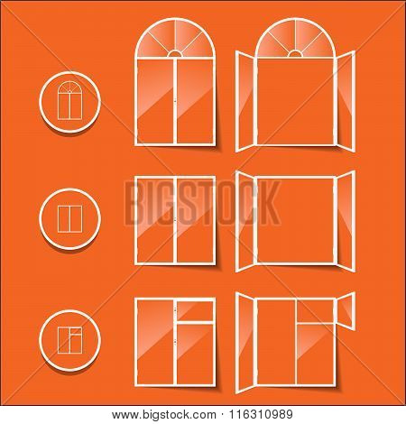 windows, icon isolated on a orange background