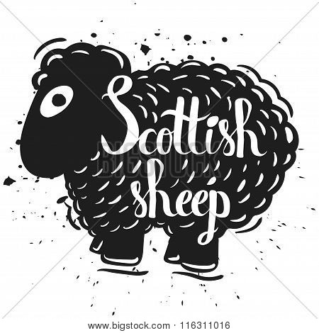 Hand Drawn Lettering Typography Poster The Silhouette Of A Sheep Isolated On A White Background. Agr