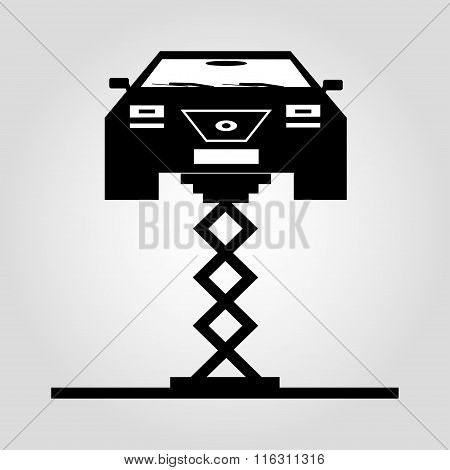 Car On A Jack Monochrome Symbol On White Background