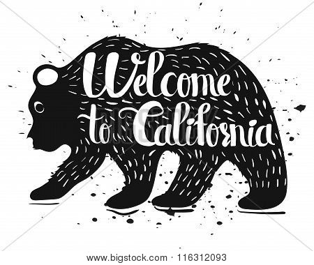 Vintage Handlettering Poster On The Topic Of California Usa. Isolated Silhouette Of A Bear With Text