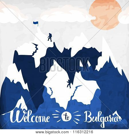 Vintage Handlettering Poster On The Theme Of Winter Tourism. Landscape Mountains Welcome To The Ski