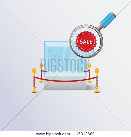 Display sale case. Vector illustration.