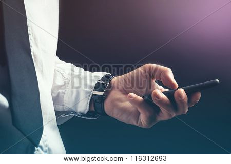 Young Unrecognizable Businessman Professional Text Messaging On