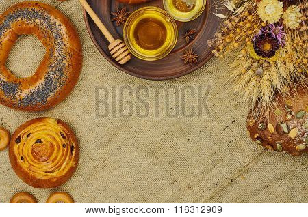 Mix of bread on the sackcloth background