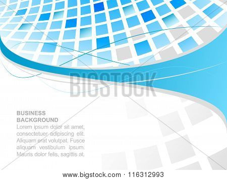 Business background with blue abstract square mosaic.