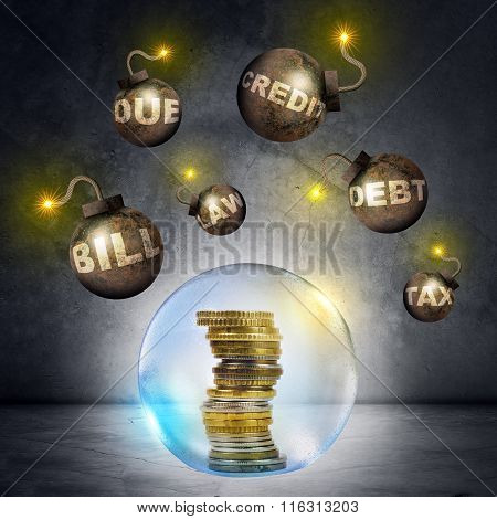 Pile of coins in bubble