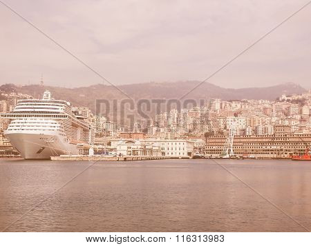 View Of Genoa Italy From The Sea Vintage