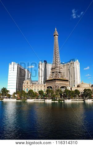 LAS VEGAS, NV - MAR 4: Paris Las Vegas hotel and Casino Eiffel Tower replica has the theme of the city of Paris in France on March 4, 2010 in Las Vegas, Nevada.