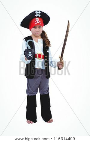 Masked girl pretending to be pirate on white screen