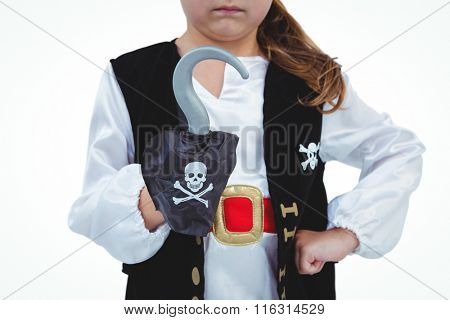 Masked girl showing hook pretending to be pirate