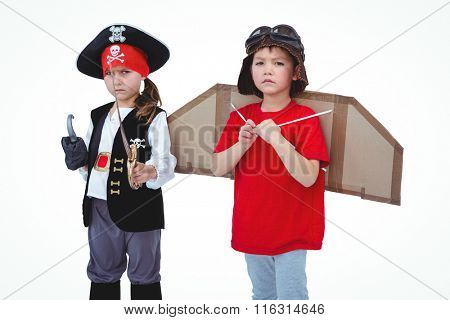 Masked kids pretending to be pirate and pilot on white screen