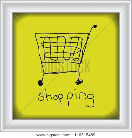 Simple Doodle Of A Shopping Trolley